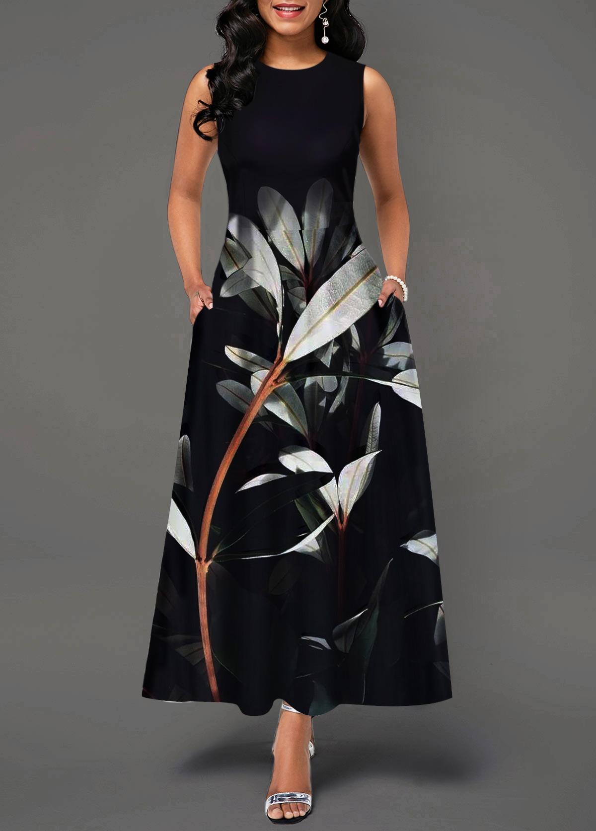 Back Zipper Plant Print Round Neck Maxi Dress
