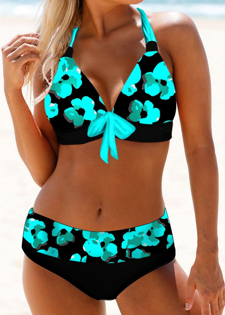 Bowknot Detail Halter Neck Floral Print Bikini Set
