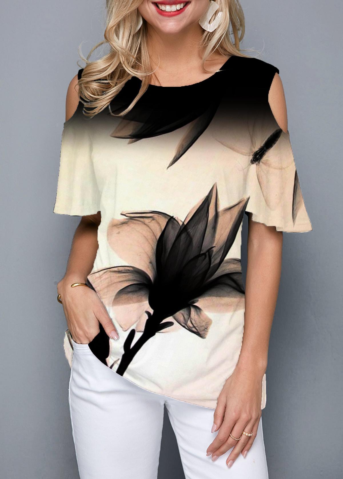 Art Floral Print Cold Shoulder Round Neck T Shirt