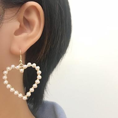 Heart Shape Bead Embellished Gold Metal Earring Set