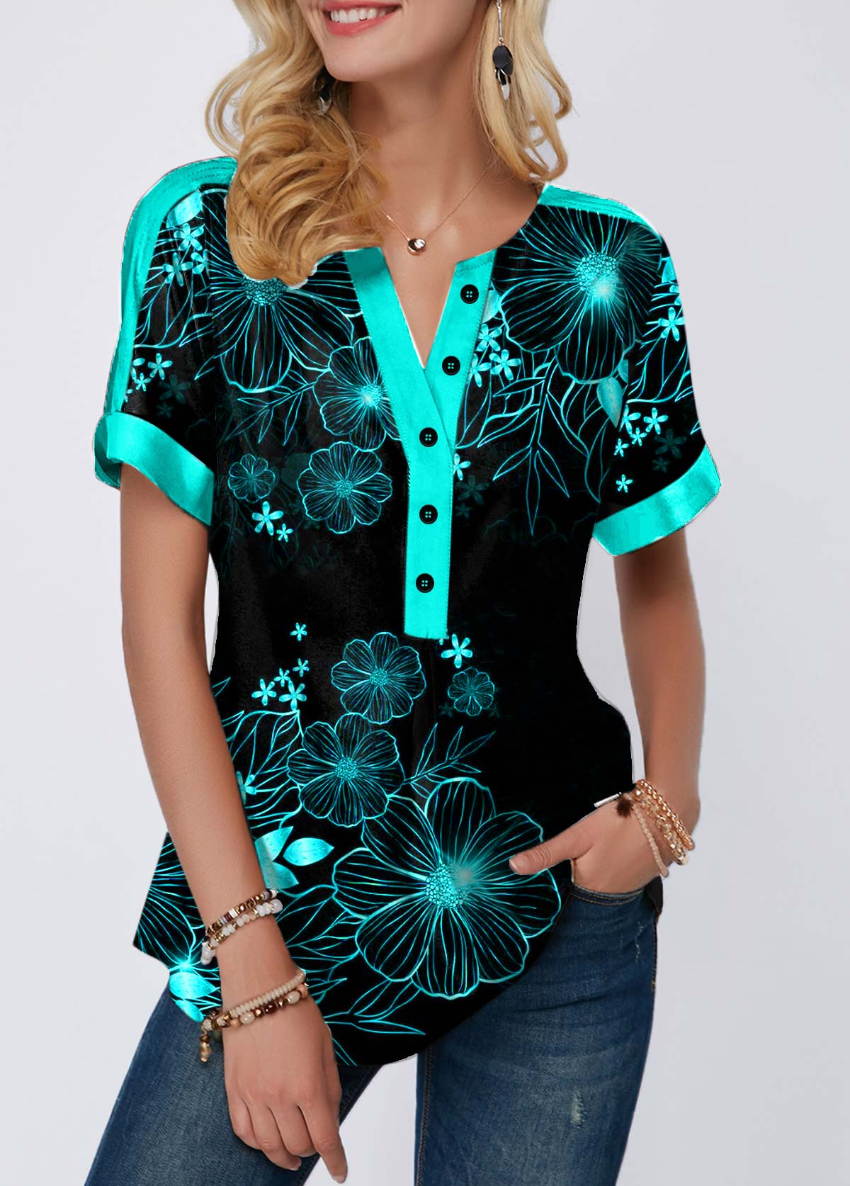 Split Neck Button Detail Cyan Leaf Print T Shirt