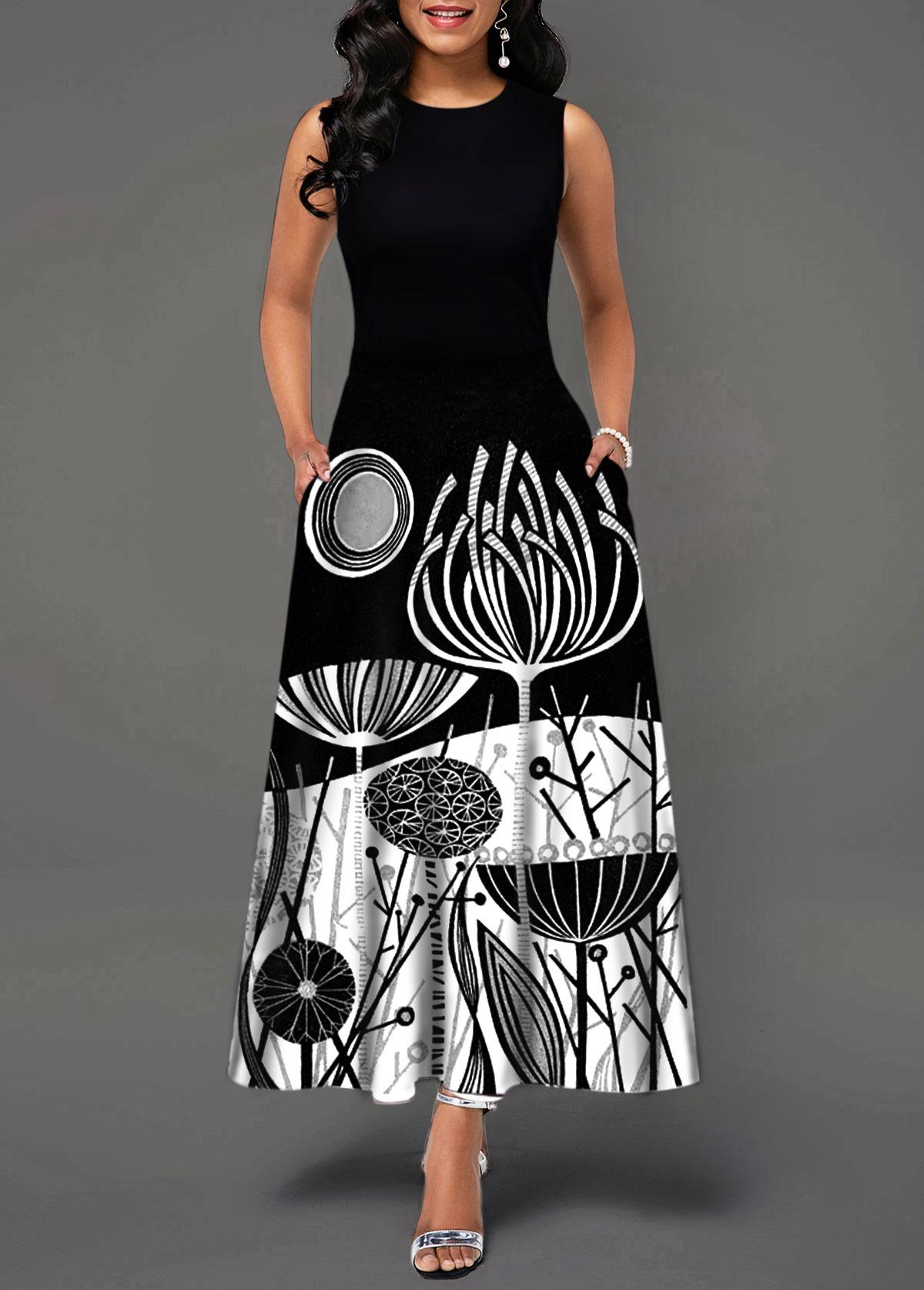 Round Neck Sleeveless Printed Black Dress