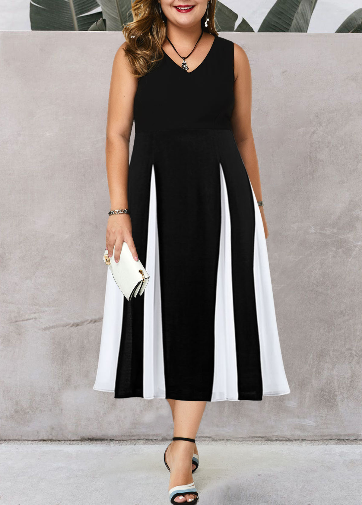 V Neck Color Block Plus Size High Waist Dress