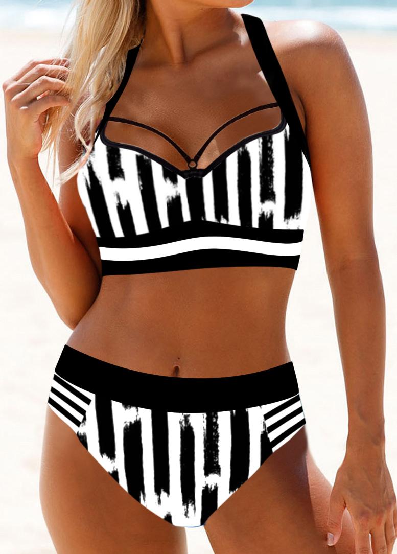 Halter Neck Monochrome Stripe Cutout Back Bikini Set