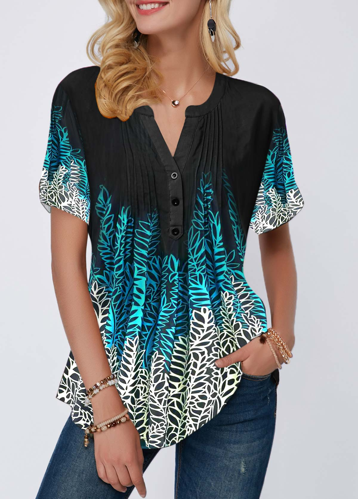 Leaf Print Crinkle Chest Notch Neck Blouse