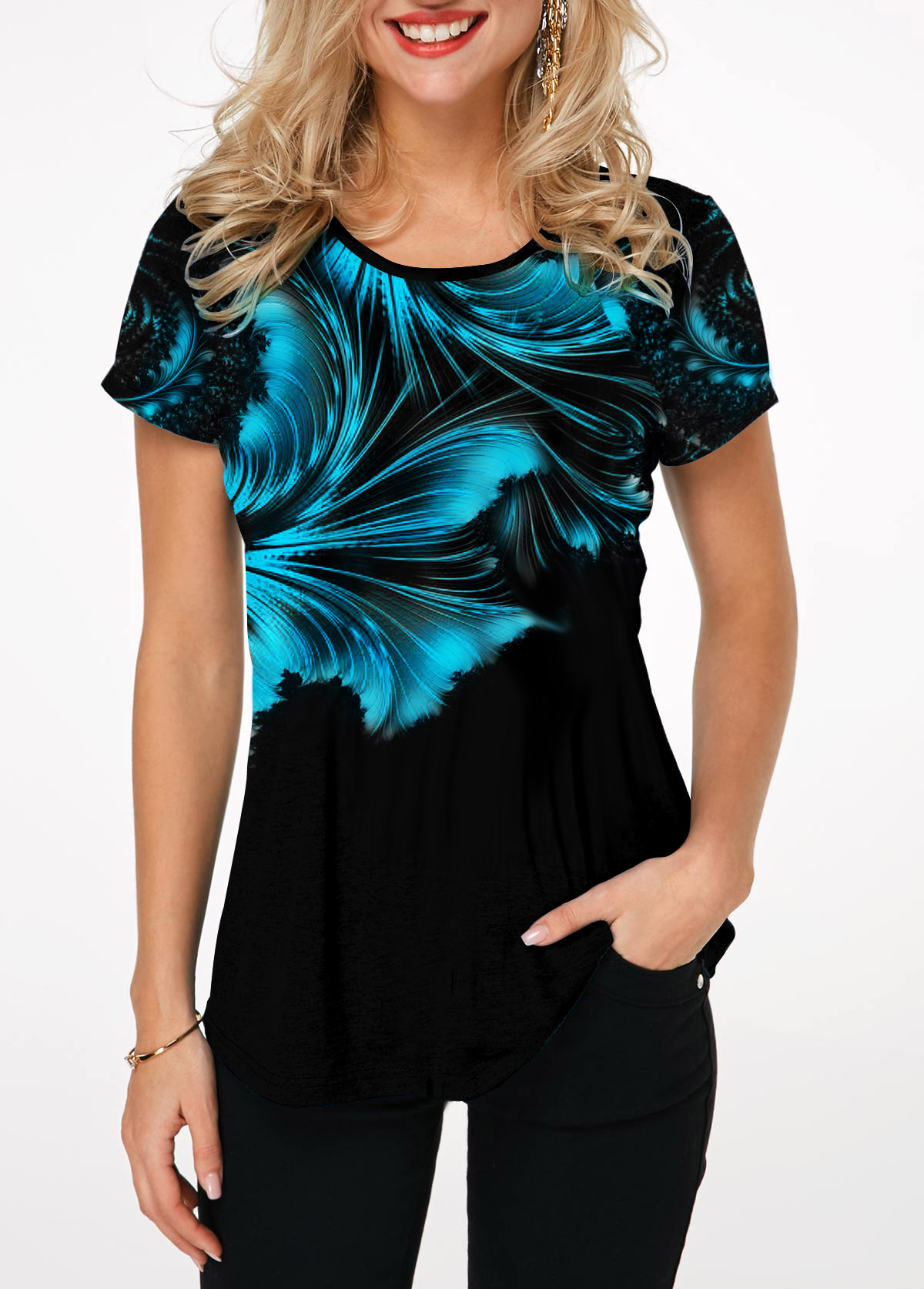 Round Neck Short Sleeve Printed T Shirt