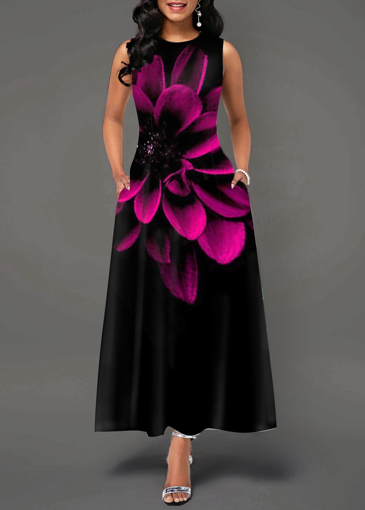 Peony Print Round Neck Sleeveless Maxi Dress