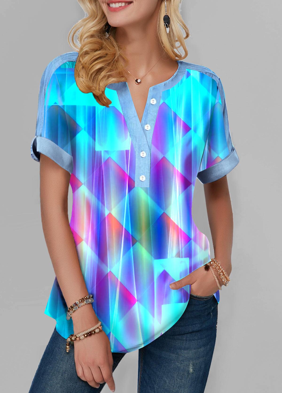 Dazzle Color Short Sleeve Button Front Blouse