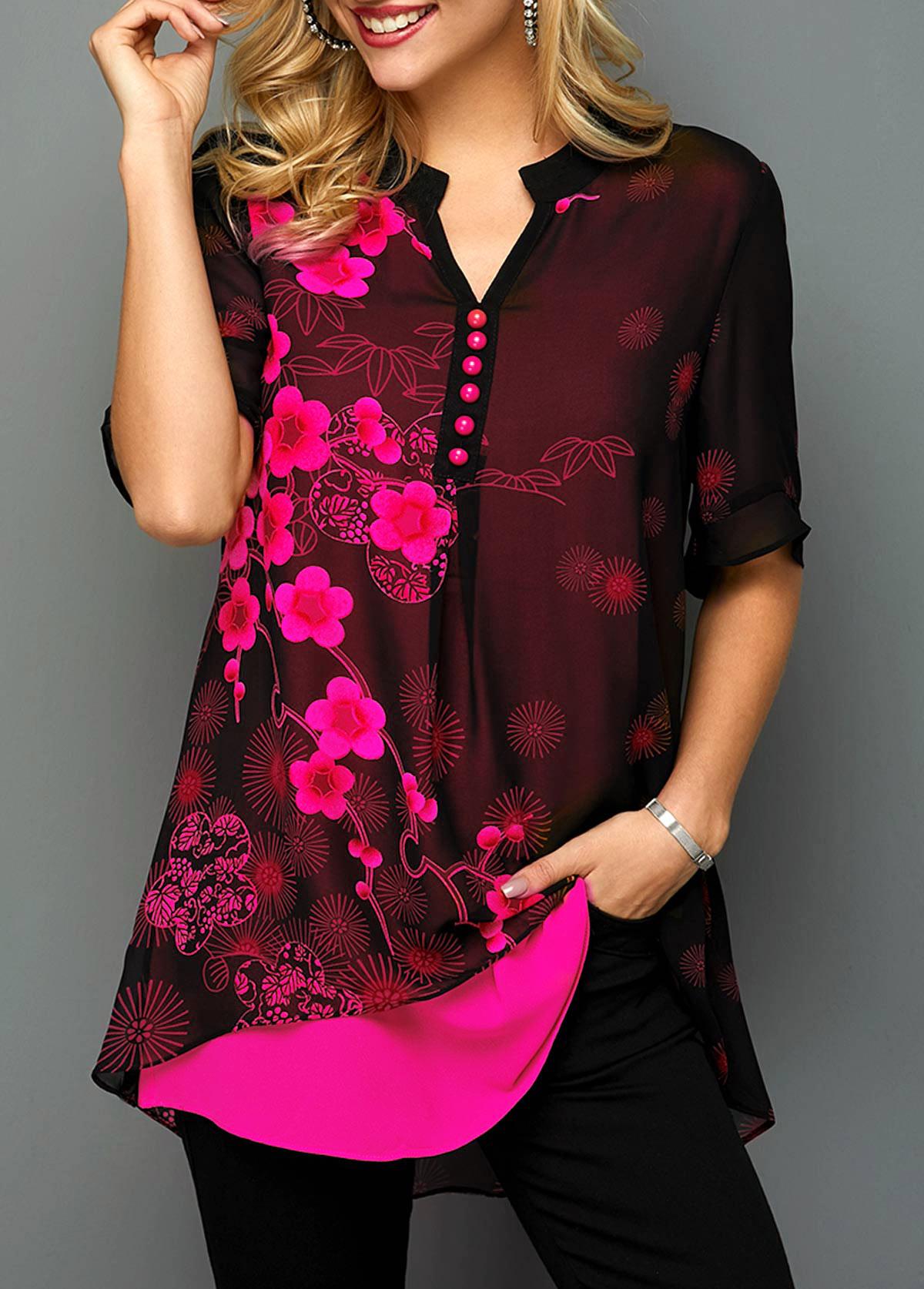 Button Detail Blossom Print Split Neck Blouse