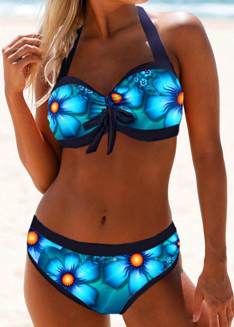 Halter Neck Printed Tie Front Bikini Swimwear
