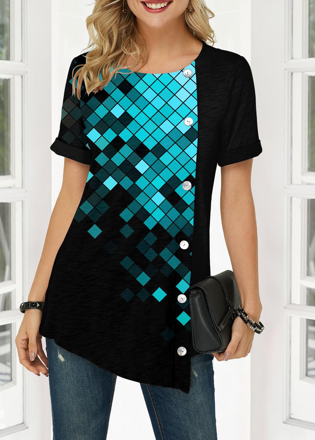 Button Front Short Sleeve Geometric Print Blouse