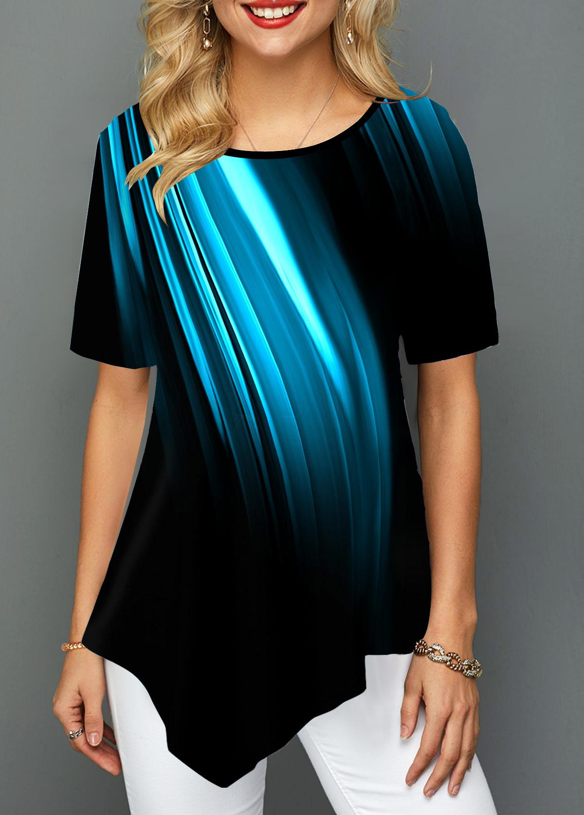 Asymmetric Hem Printed Round Neck T Shirt