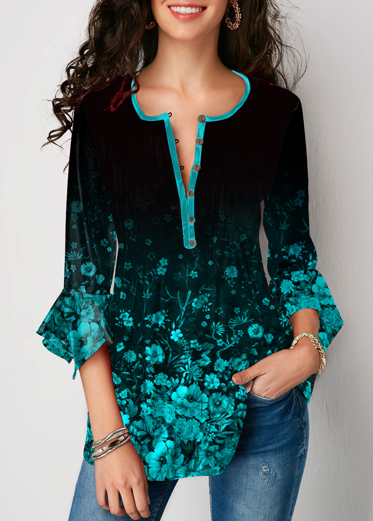 Button Front Flare Sleeve Printed Blouse