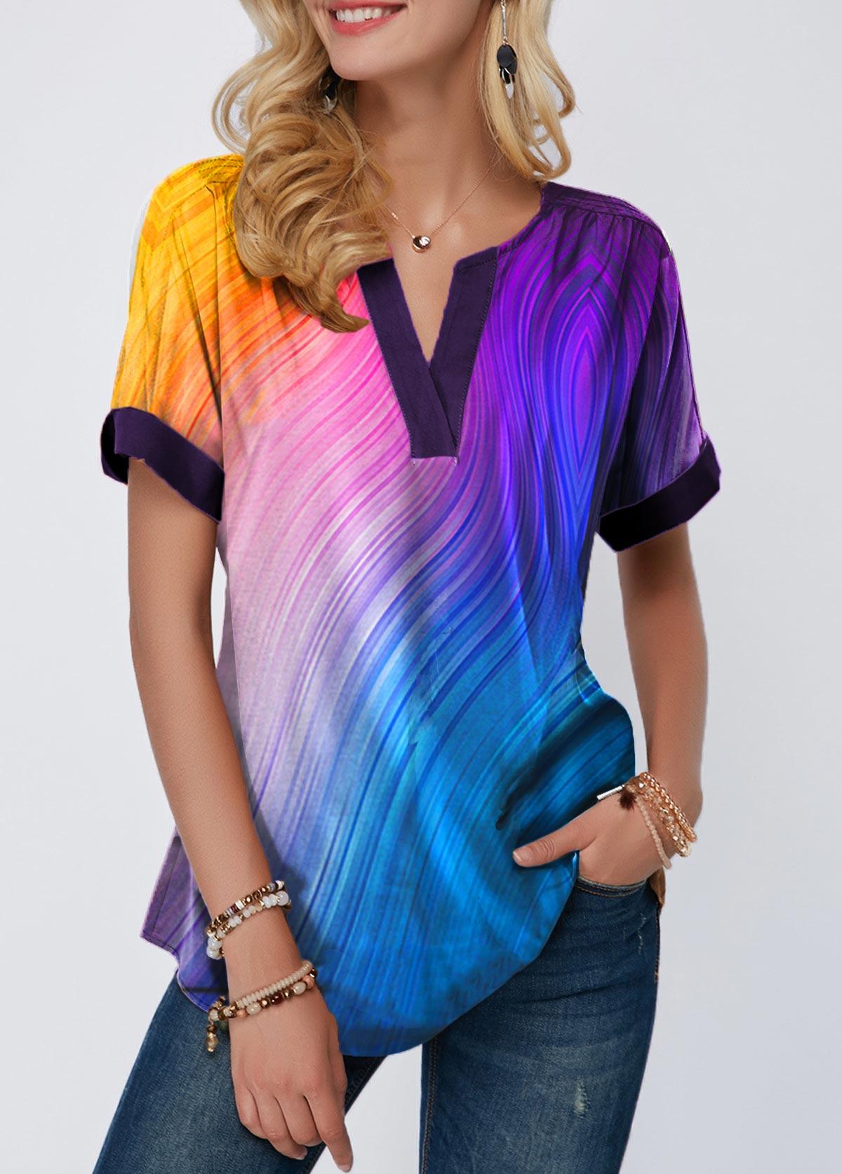 Notch Neck Short Sleeve Printed T Shirt