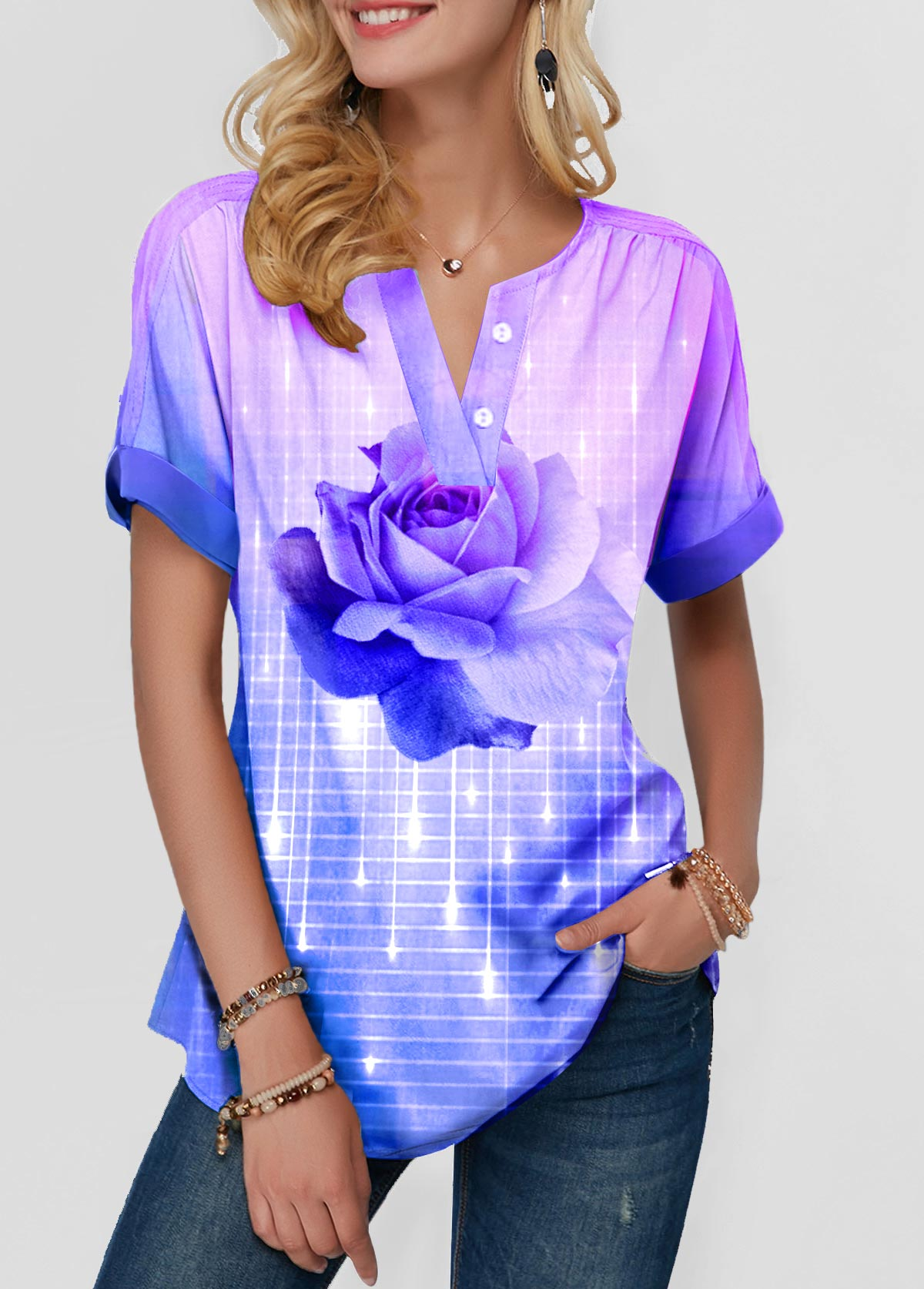 Flower Print Short Sleeve Button Front Blouse