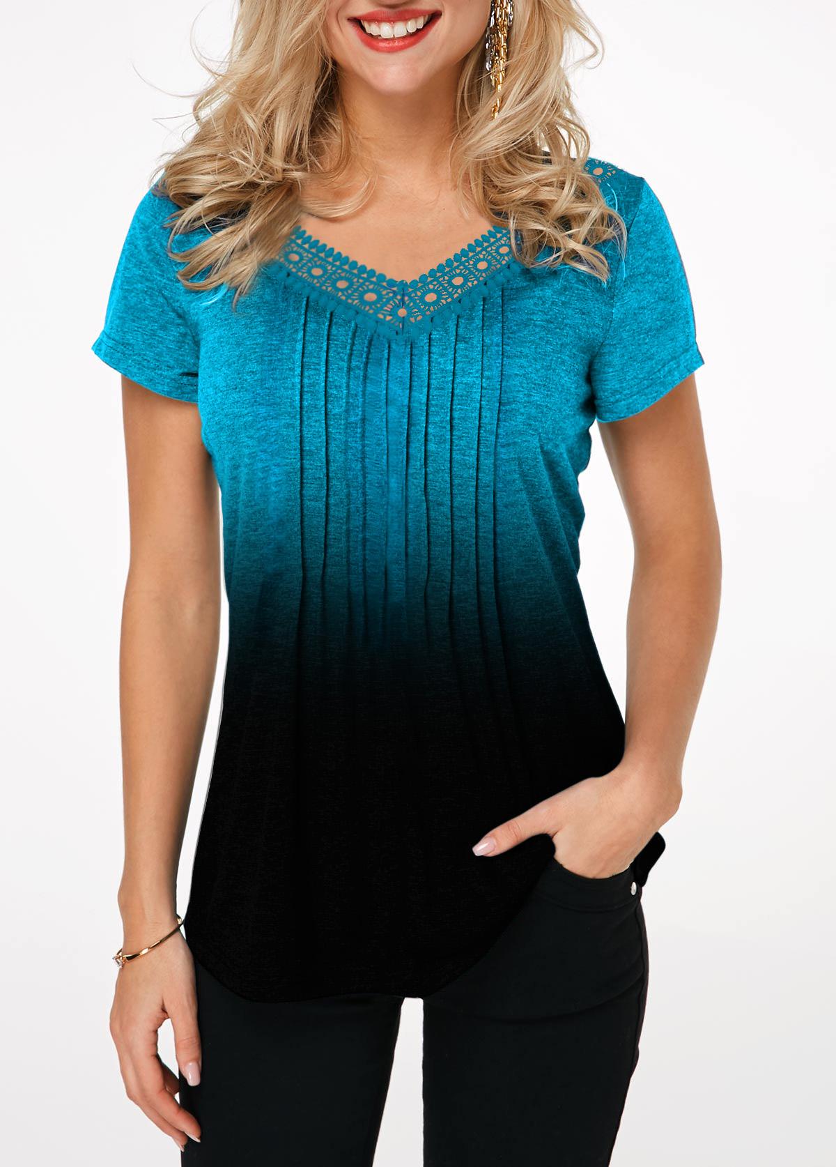 Lace Panel Gradient Crinkle Chest T Shirt