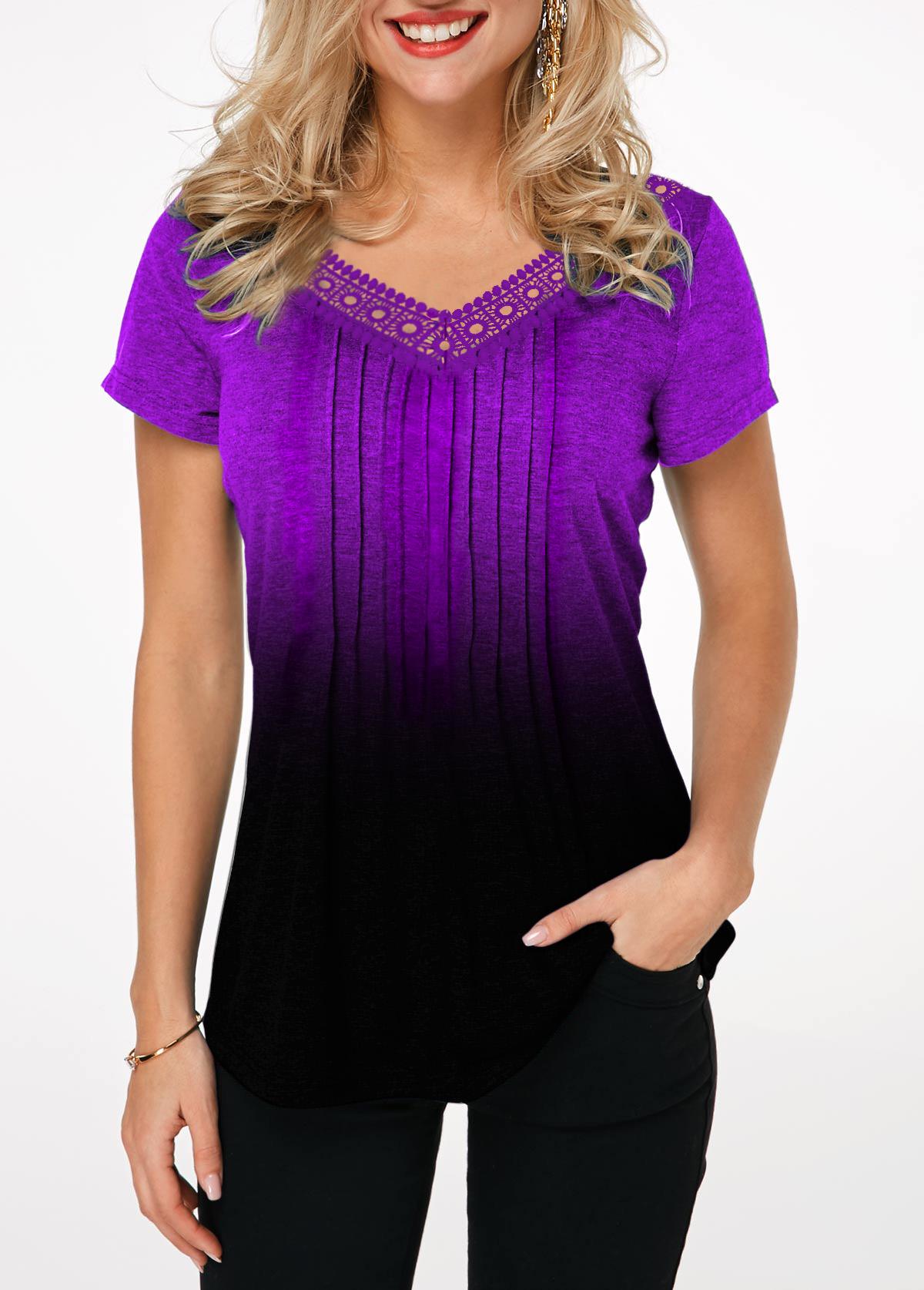 Crinkle Chest Gradient Lace Patchwork T Shirt
