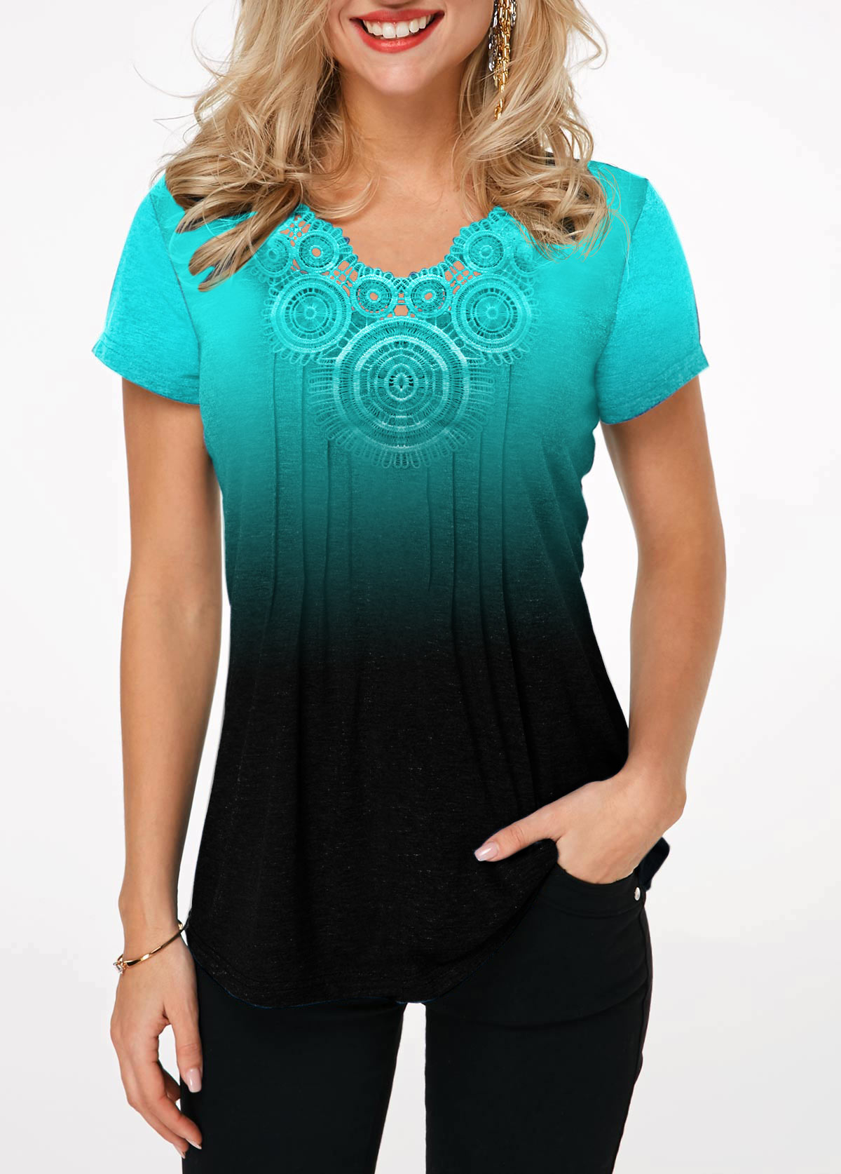 Lace Panel Cyan Gradient Short Sleeve T Shirt