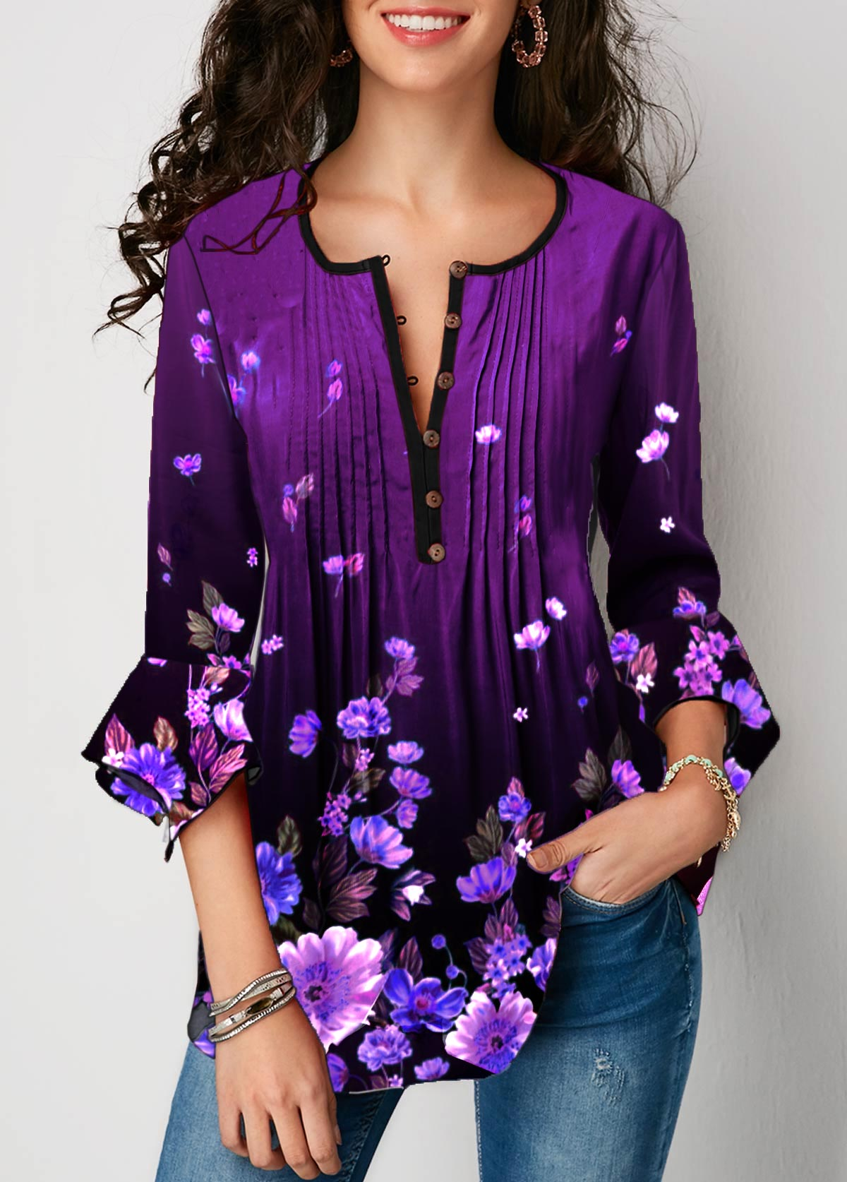 Flare Sleeve Floral Print Crinkle Chest Blouse