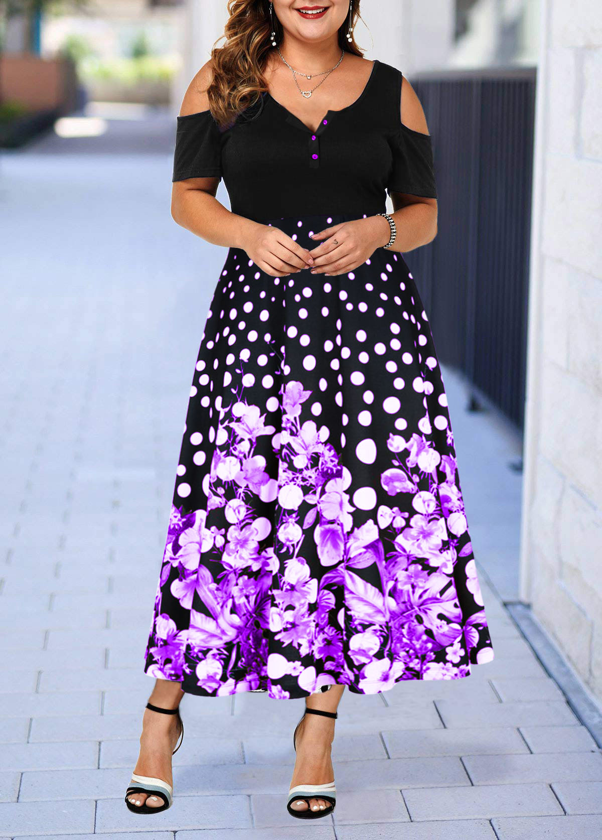 Cold Shoulder Retro Flower Print Plus Size Dress