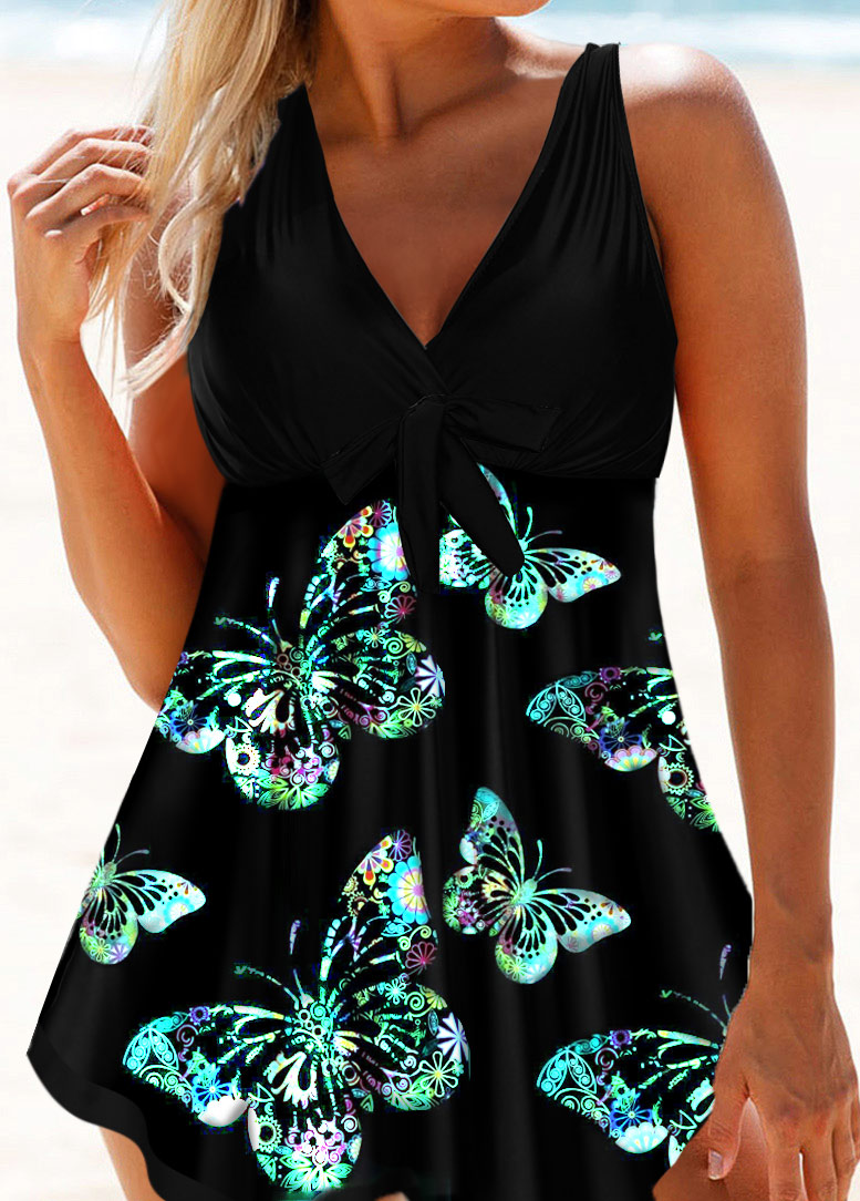 Butterfly Print Asymmetric Hem Swimdress and Panty
