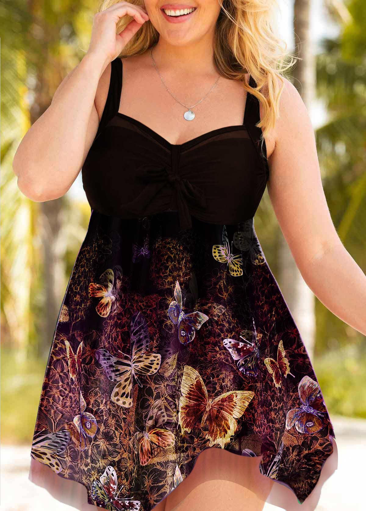 Butterfly Print Bowknot Detail Plus Size Swimdress and Shorts