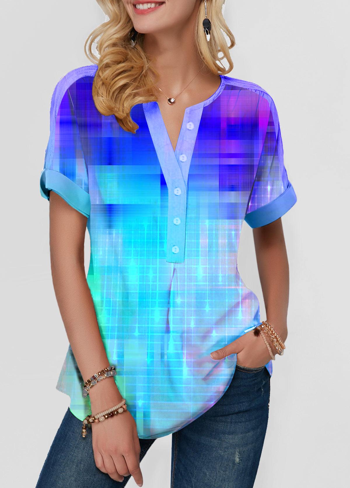 Split Neck Gradient Blue T Shirt