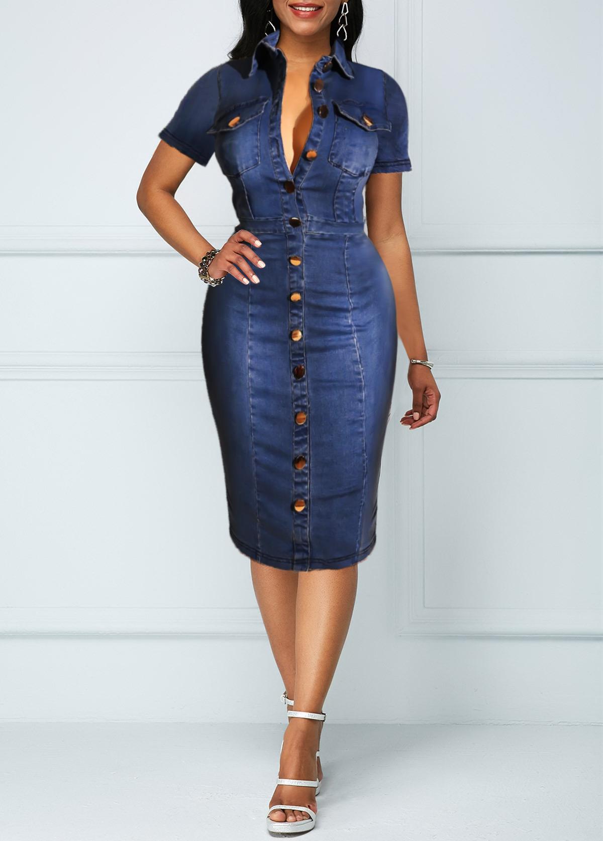 Button Up Chest Pocket Turndown Collar Denim Dress
