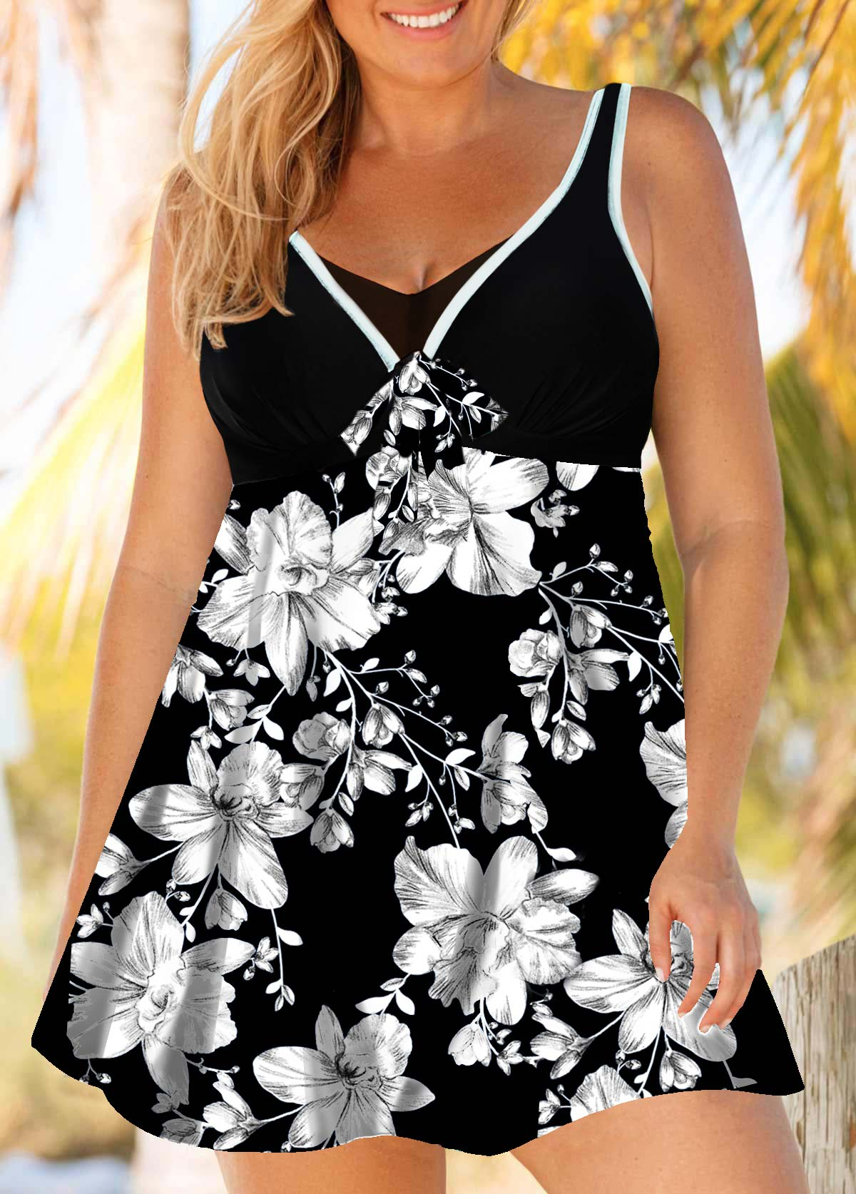 Flower Print Plus Size Swimdress and Shorts