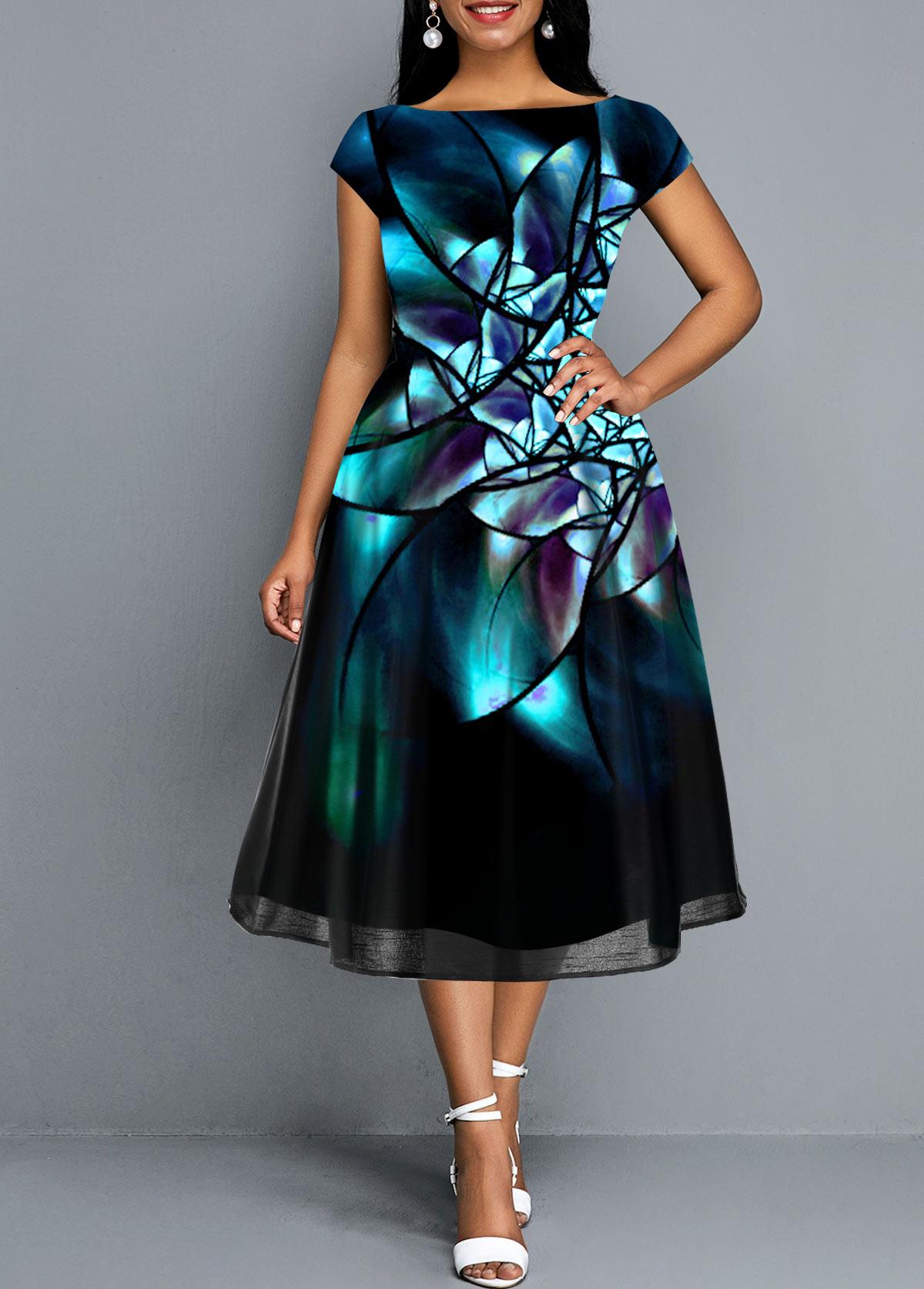 Abstract Print Short Sleeve Mesh Panel Dress