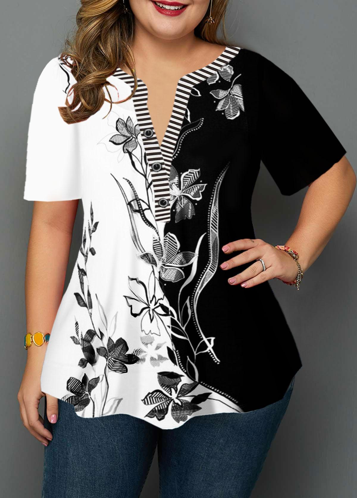 Plus Size Split Neck Flower Print Blouse