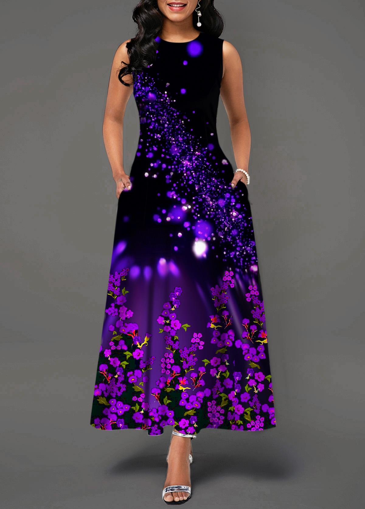 Starry Night Print Round Neck Back Zipper Maxi Dress