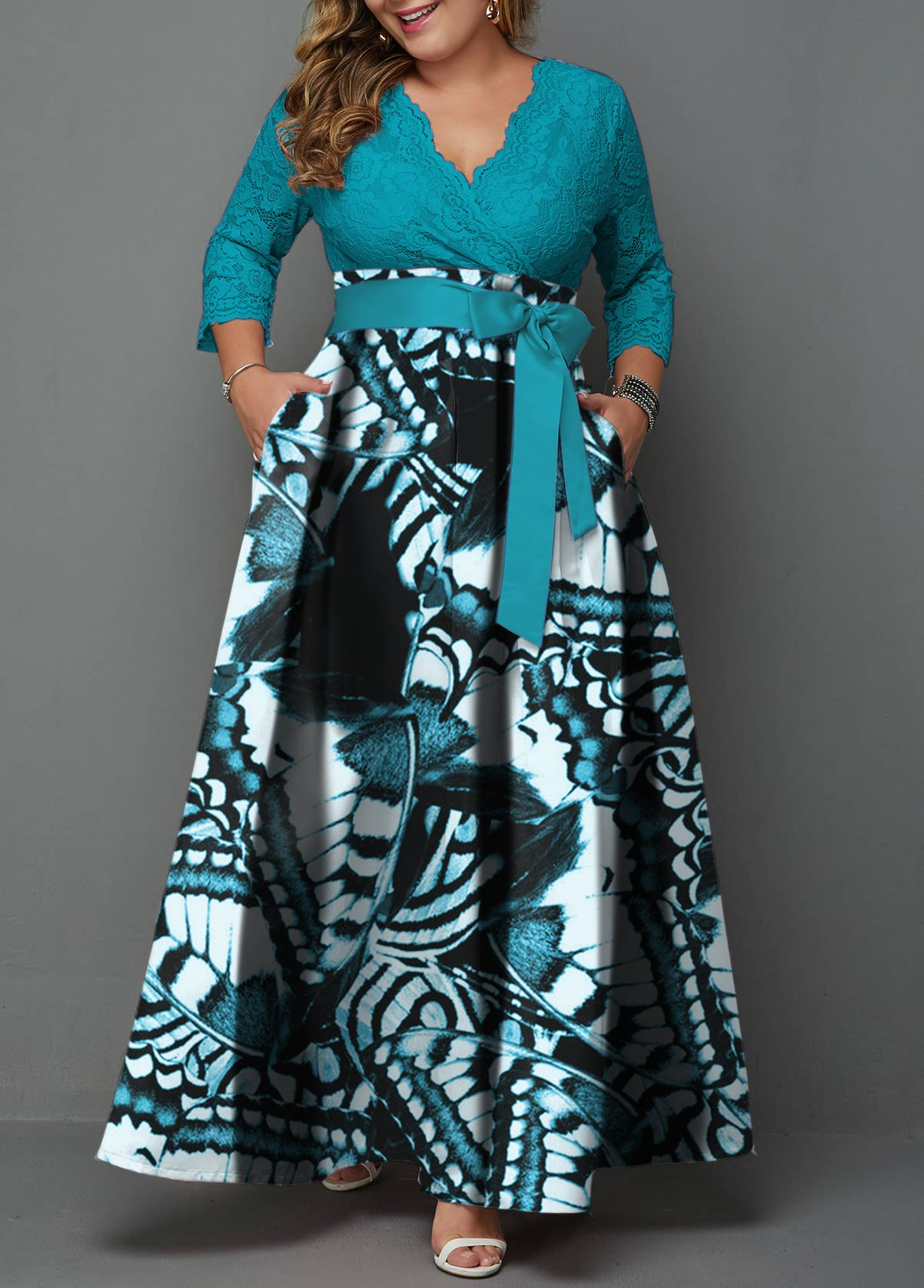 Plus Size Belted Lace Panel Printed Maxi Dress