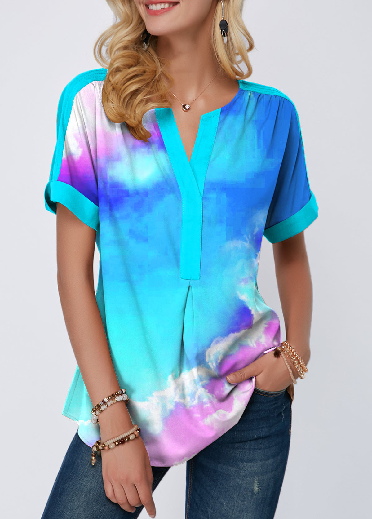 Dazzle Color Sky Print Notch Neck T Shirt