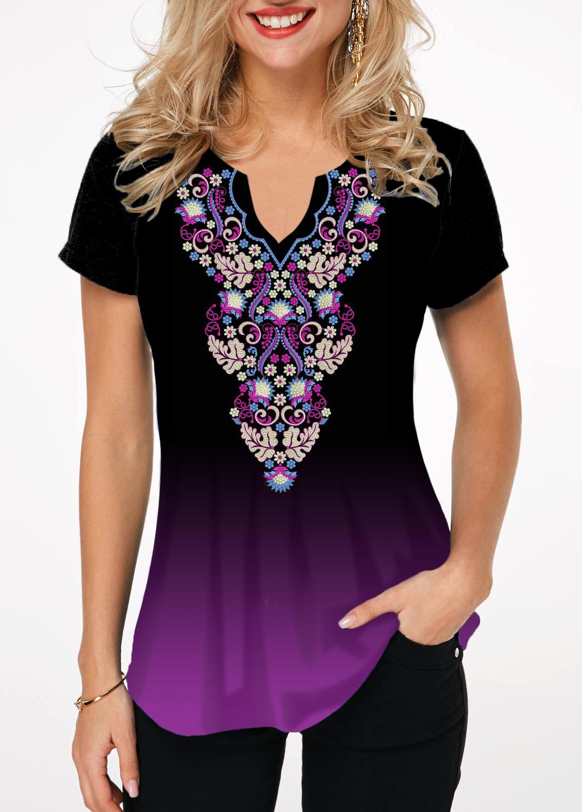 Tribal Print Short Sleeve Notch Neck T Shirt