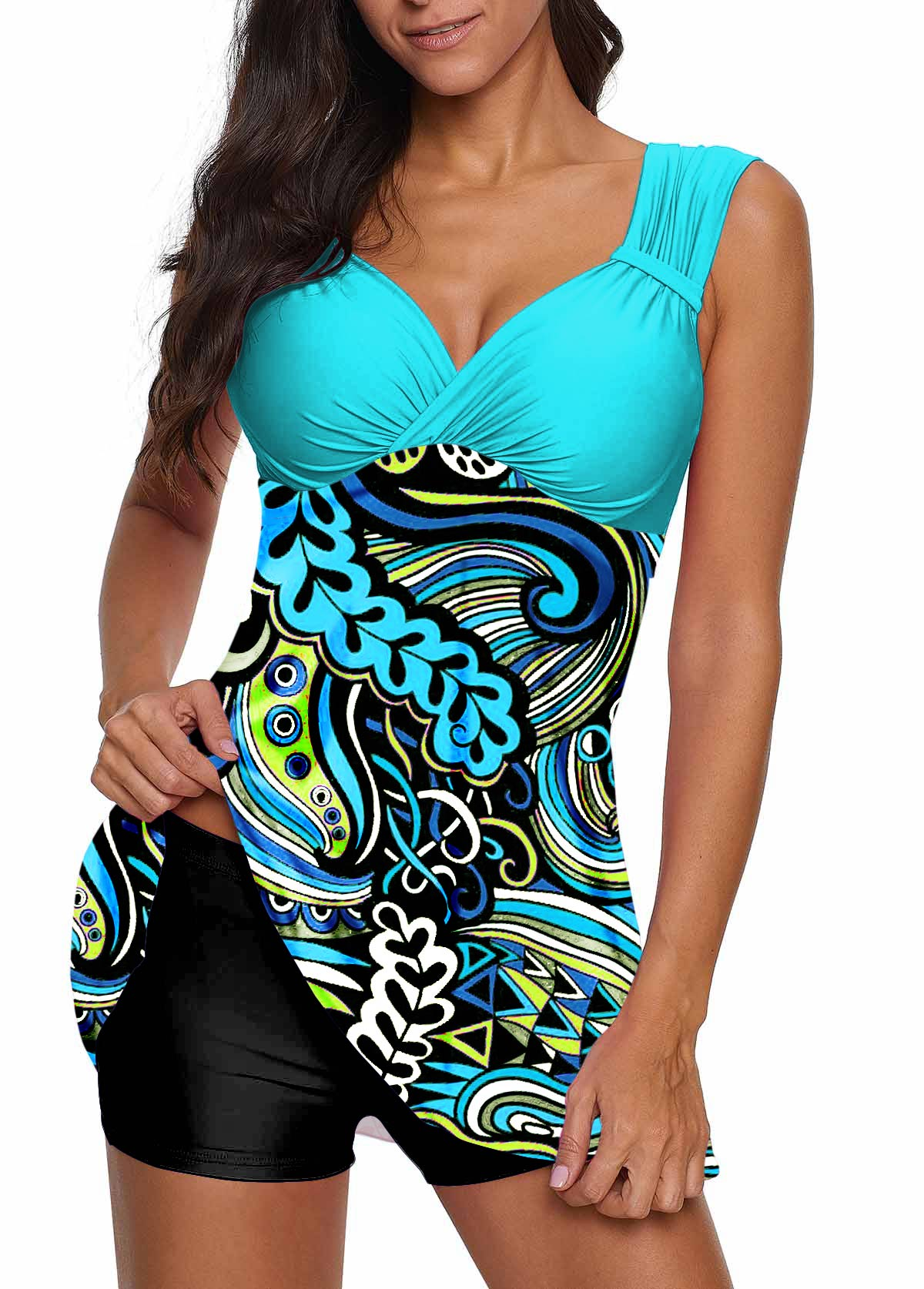 Wide Strap Paisley Print Swimdress and Shorts