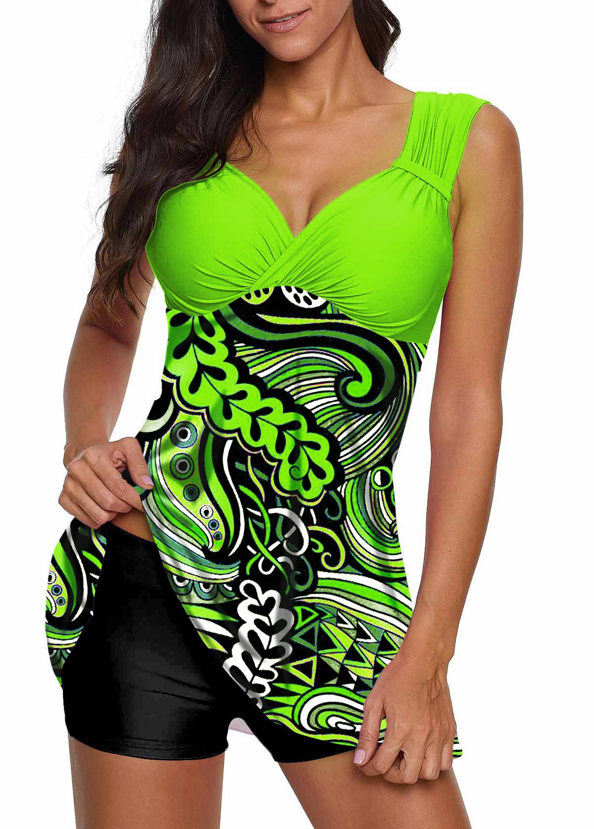 Open Back Printed Swimdress and Mid Waist Black Shorts