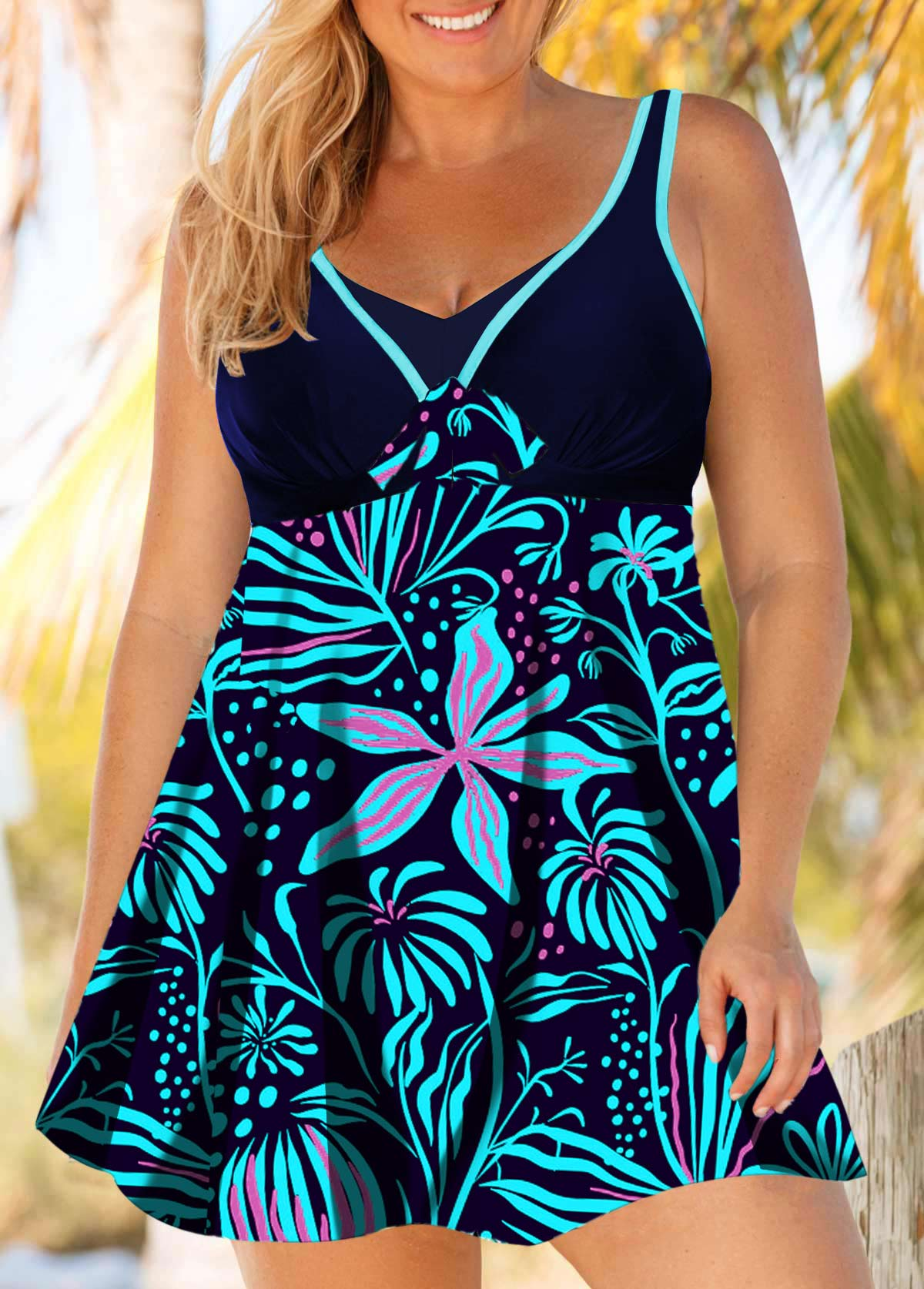 Plus Size Cutout Back Flower Print Swimdress and Shorts