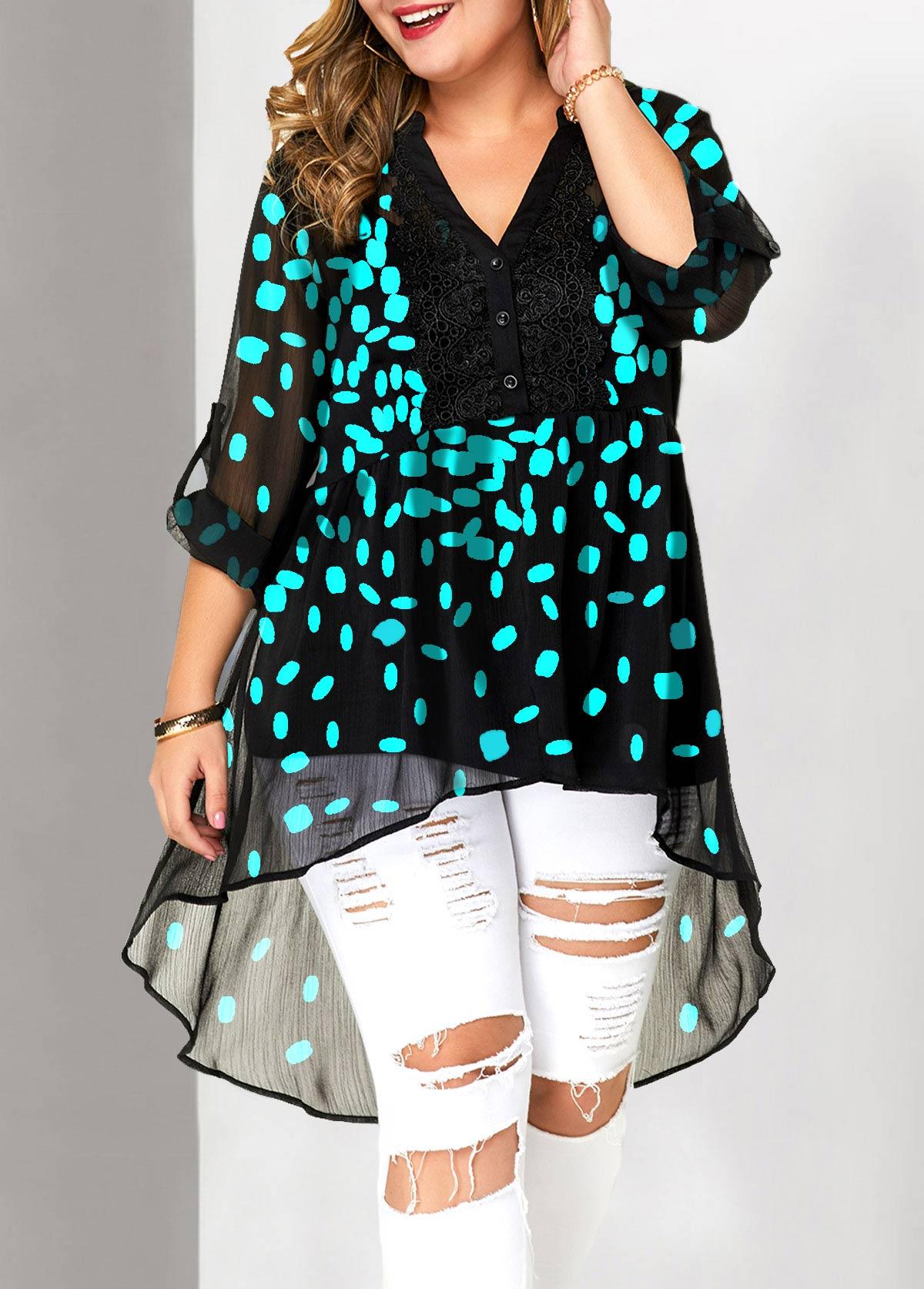 Plus Size Lace Patchwork Roll Tab Sleeve Split Neck Blouse