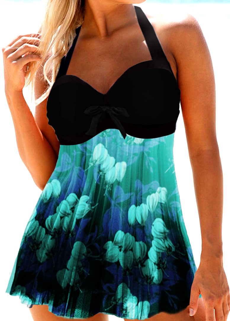 Halter Cutout Back Flower Print Swimdress and Panty