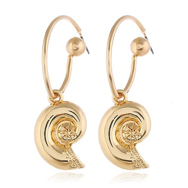 Snail Shell Shaped Gold Metal Earrings