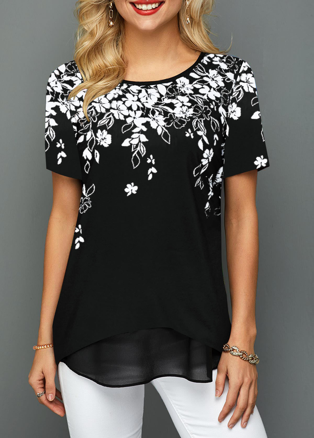 Floral Print Round Neck Short Sleeve T Shirt