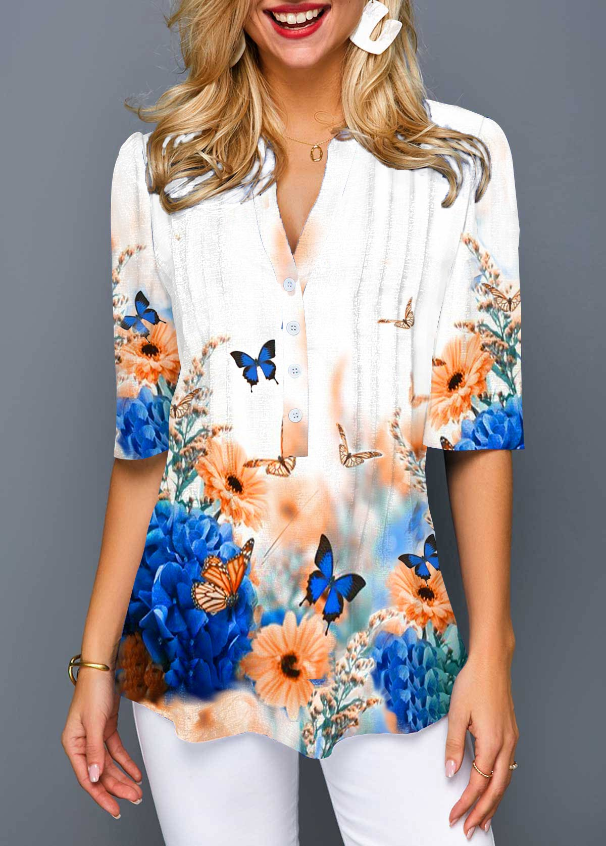 Flower and Butterfly Print Crinkle Chest Blouse