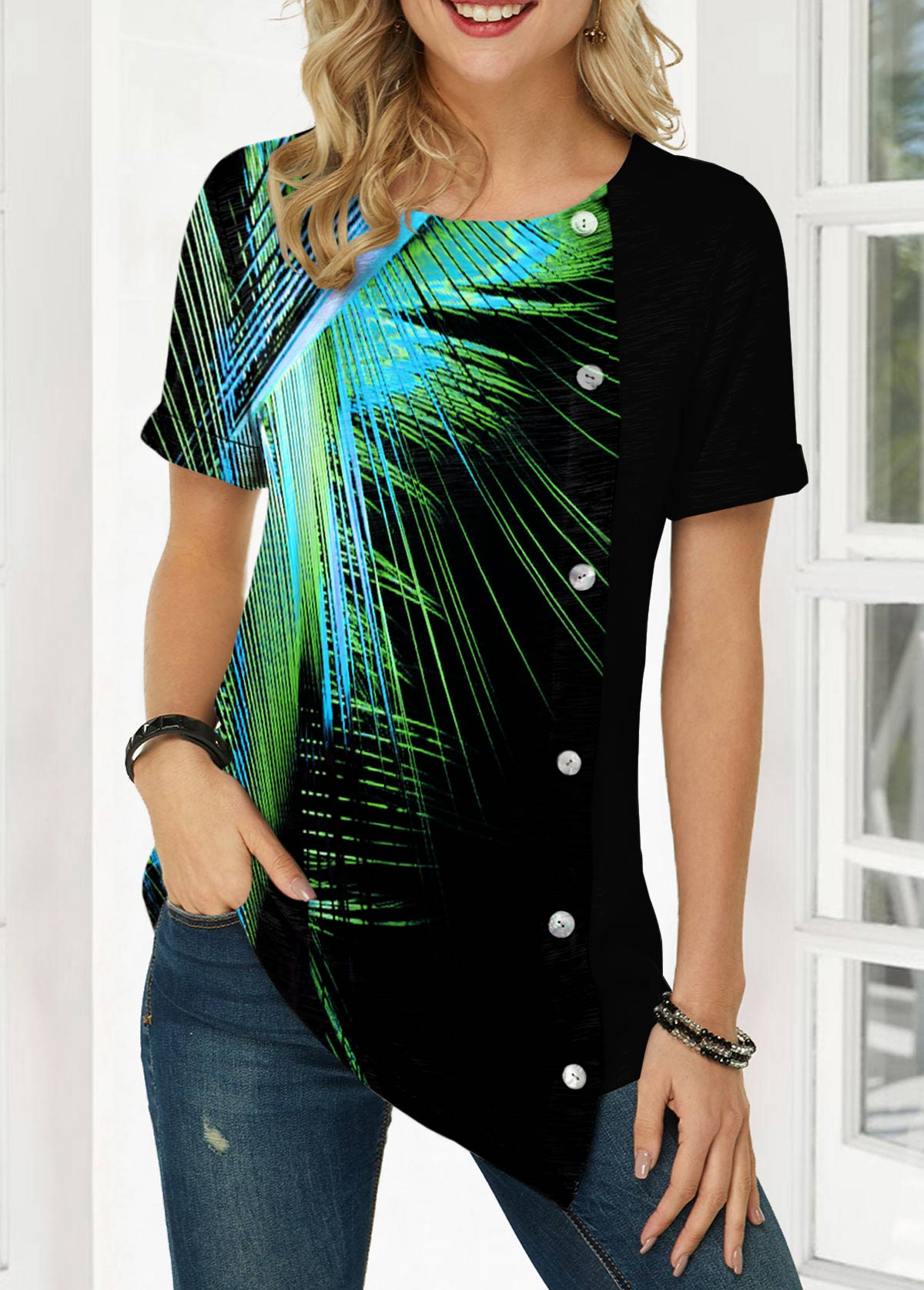 Palm Leaf Print Button Detail Asymmetric Hem T Shirt