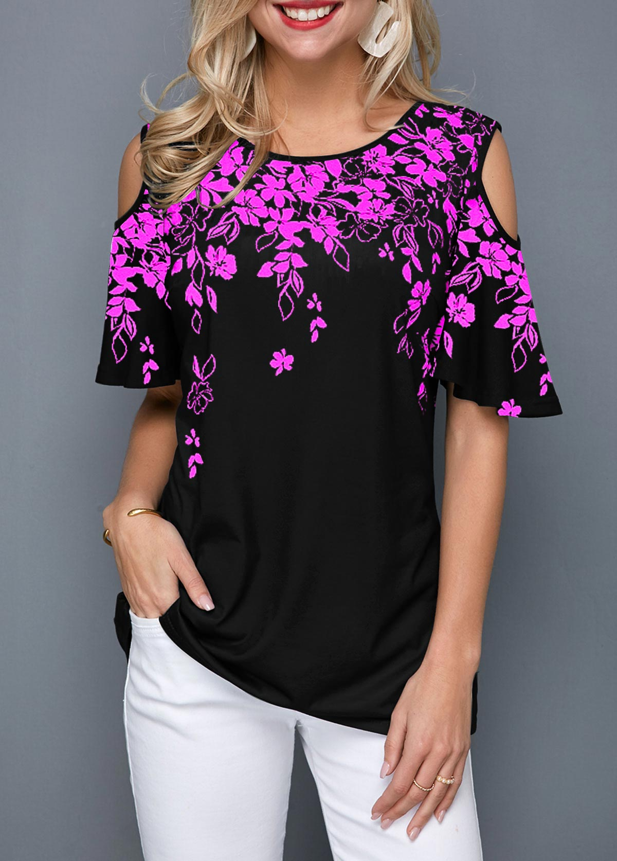 Cold Shoulder Round Neck Flower Print Blouse