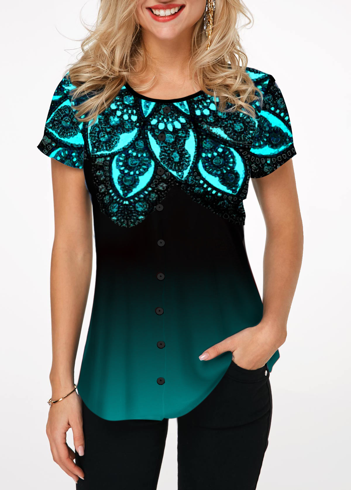 Lace Patchwork Button Up Short Sleeve T Shirt