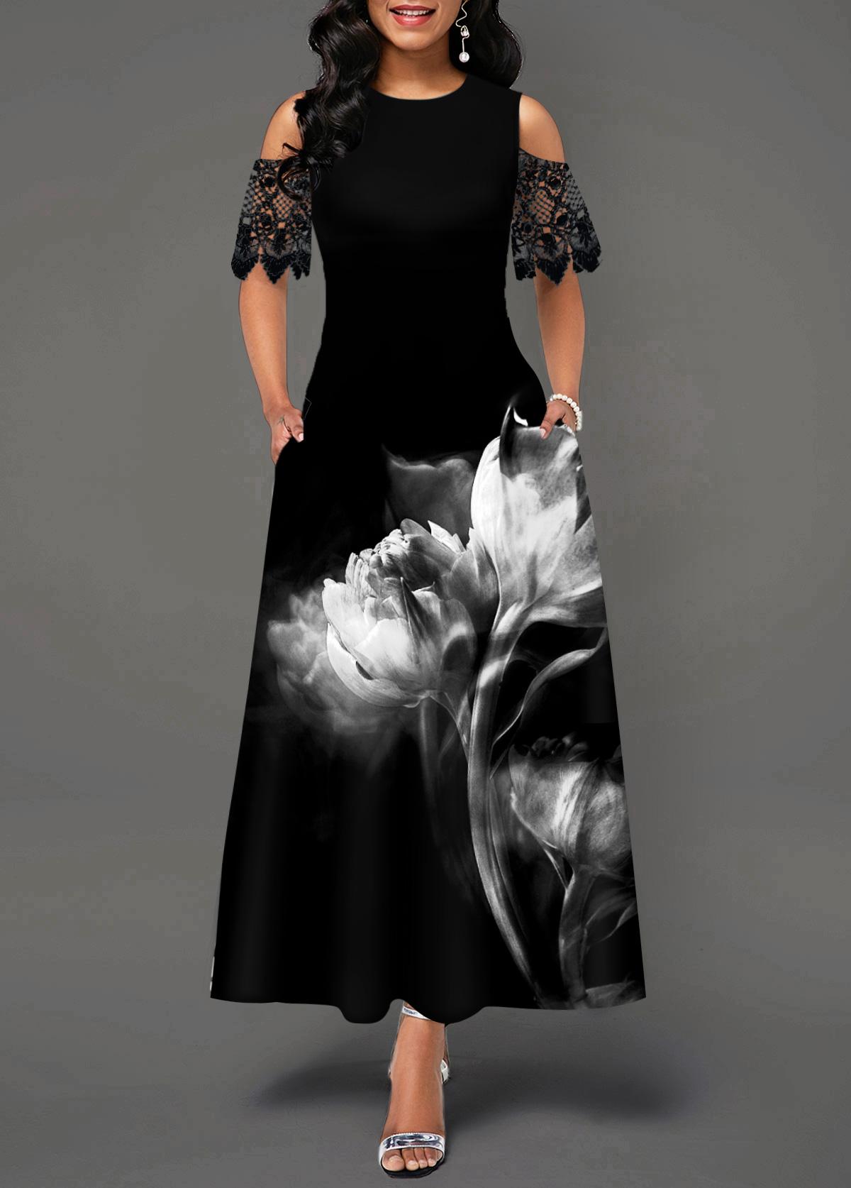 Flower Print Cold Shoulder Lace Panel Maxi Dress