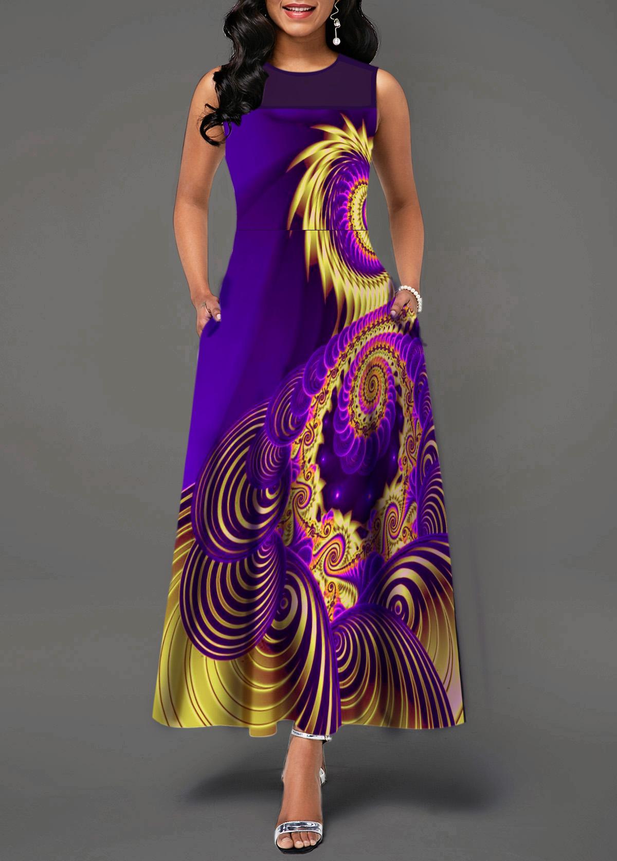 Mesh Patchwork Sleeveless Printed Maxi Dress