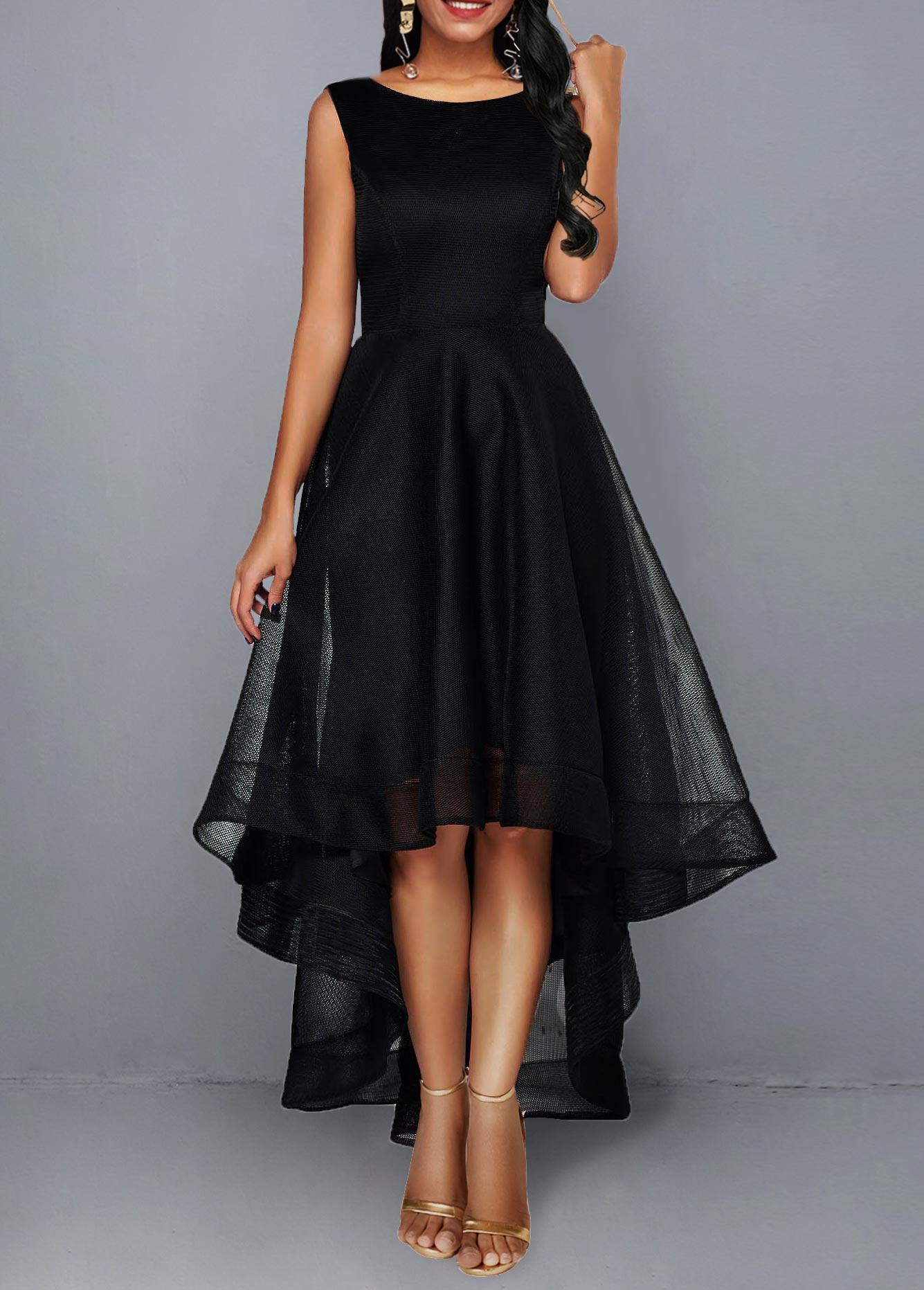 High Waist Mesh Patchwork Sleeveless Black Dress