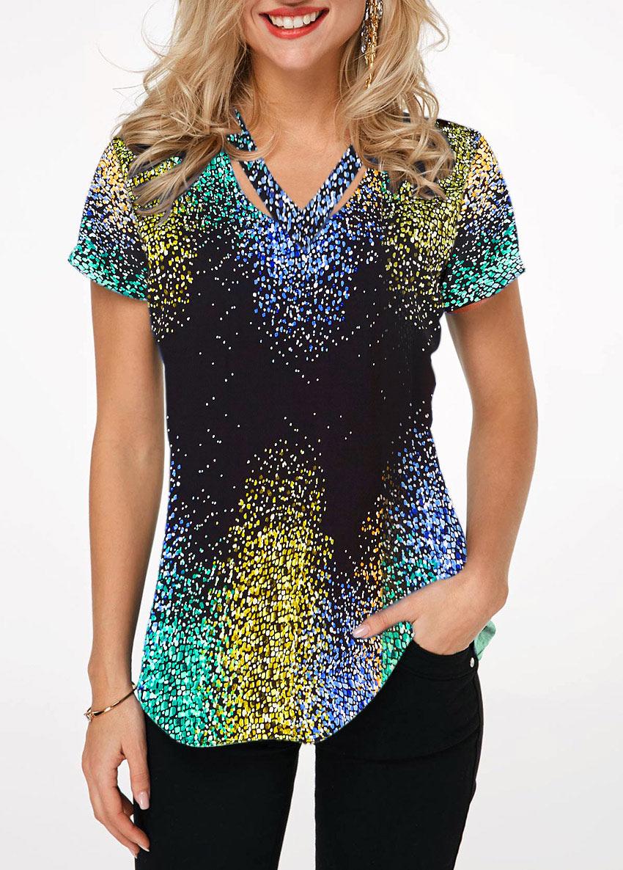 Cutout Neck Short Sleeve Printed T Shirt